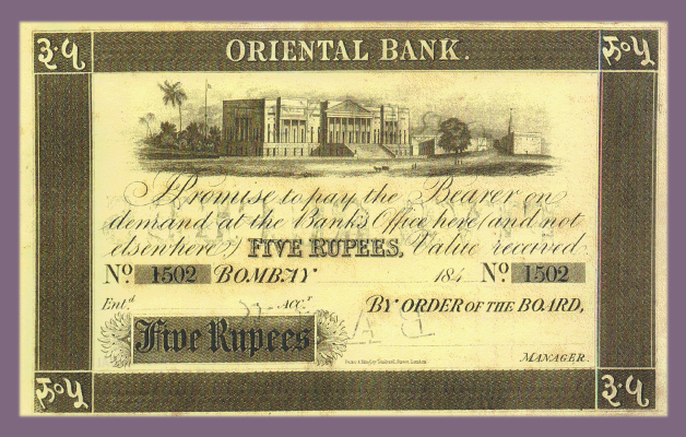 Bank Note Issued by the Oriental Bank