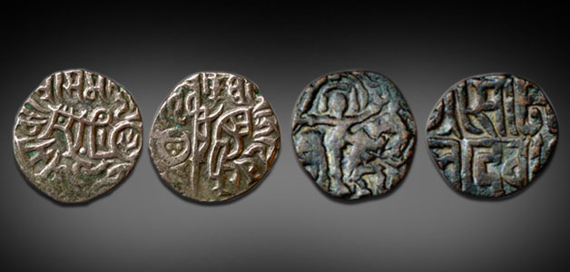 Coins inspired by the Hindu Shahi Bull and Horseman type, issued by Prithvirāja and Somalekhā Devi