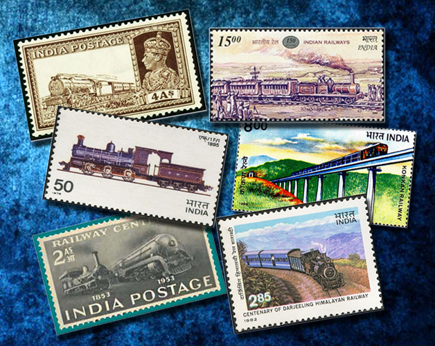Train in Indian stamps