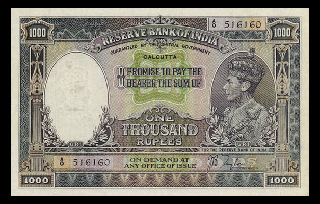 1000 Rupee Note belonging to the King's Portrait Series – George VI