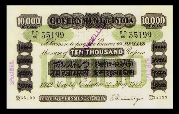 10,000 Rupee Note with Green Underprint Issued in Calcutta on 30 May 1922
