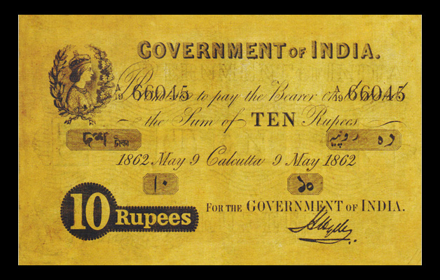 10 Rupee Victoria Portrait Note Issued in Calcutta on 9 May 1862