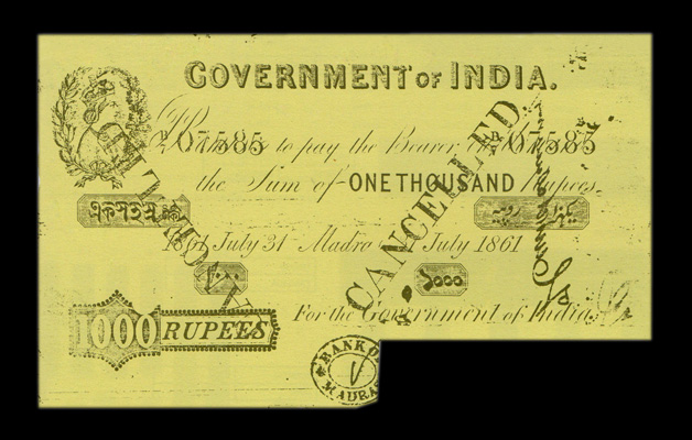 1000 Rupee Victoria Portrait Note Issued in Madras on 31 July 1861