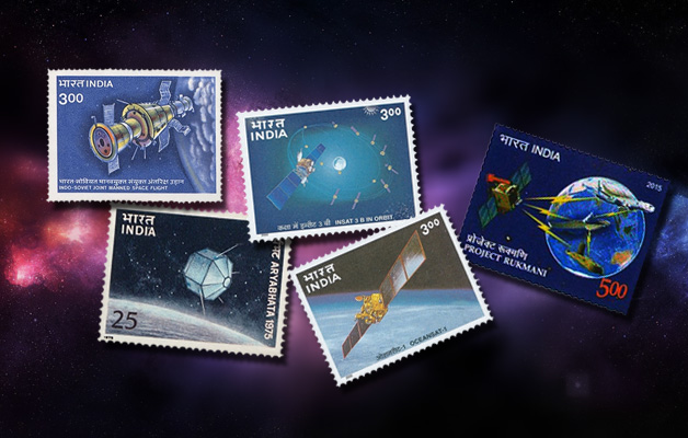 Stamps of India with satellites