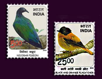 birds on stamps of India