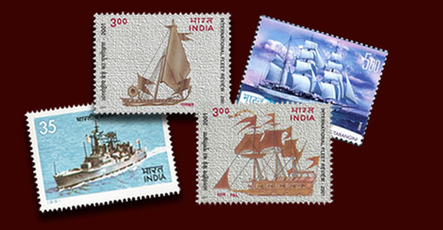 stamps of India with ships