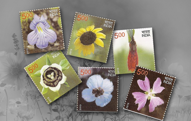 Flowers on postage stamps