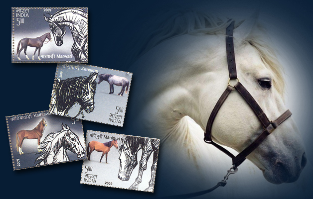 Horses on Indian stamps