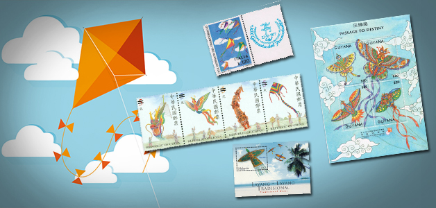 kites on stamps