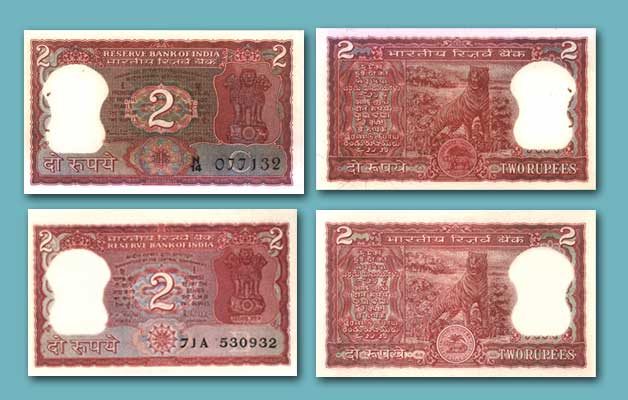 2 rupees notes of India