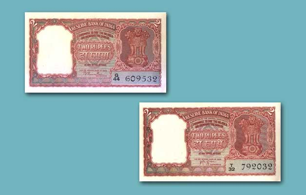 2 rupees note of India