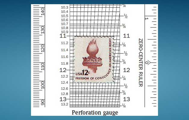 postage stamp perforation gauge