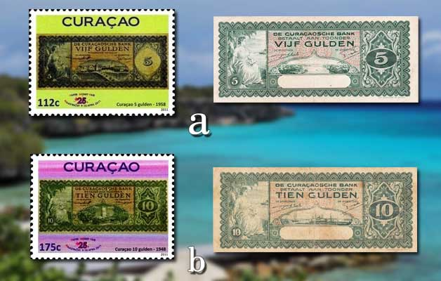 Curacao's Stamps with Banknotes