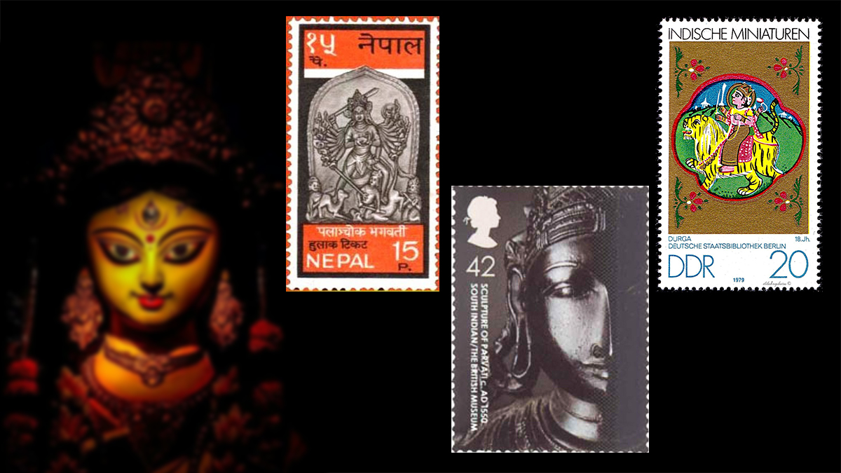 Goddess Durga on stamps