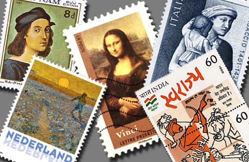 Paintings-On-Stamps